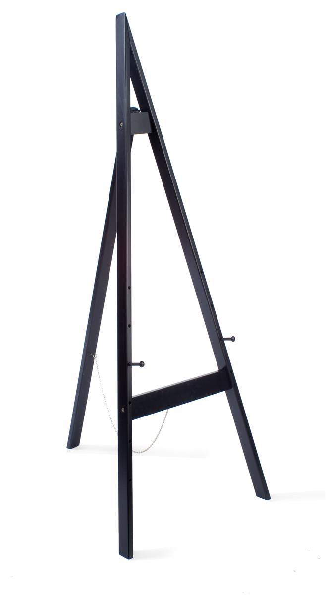 wood display easel for floor height adjustable pegs black