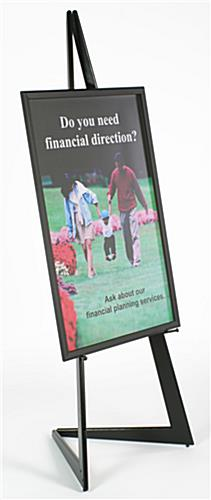 24 x 36 poster frame with bifold floor easel height adjustable display pegs black