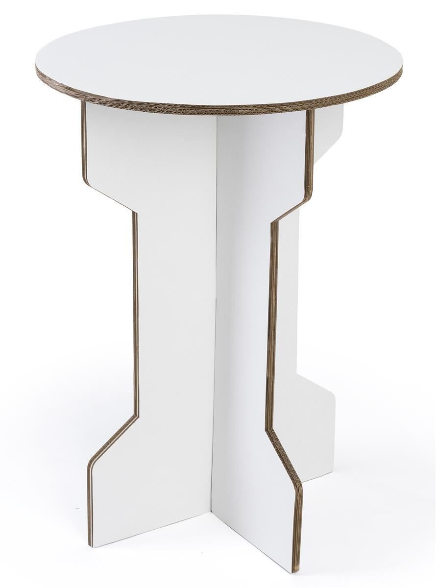 15 w x 25 h cardboard round cocktail table ships flat white
