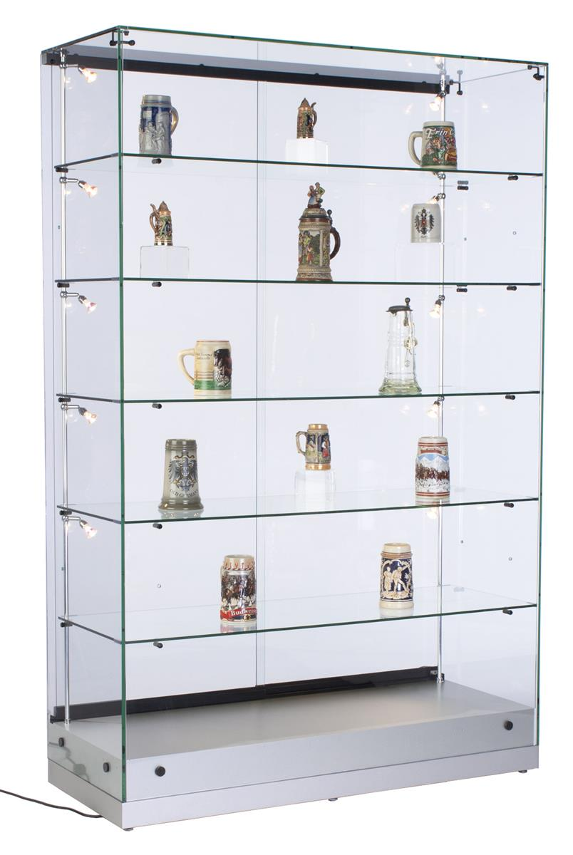 48 glass display case w led side lights sliding door frameless silver
