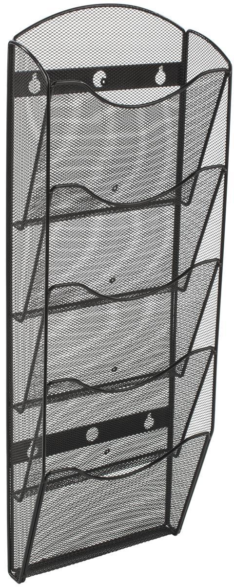5 tiered metal mesh literature wall rack 4 8 5 w 5 10 pockets black