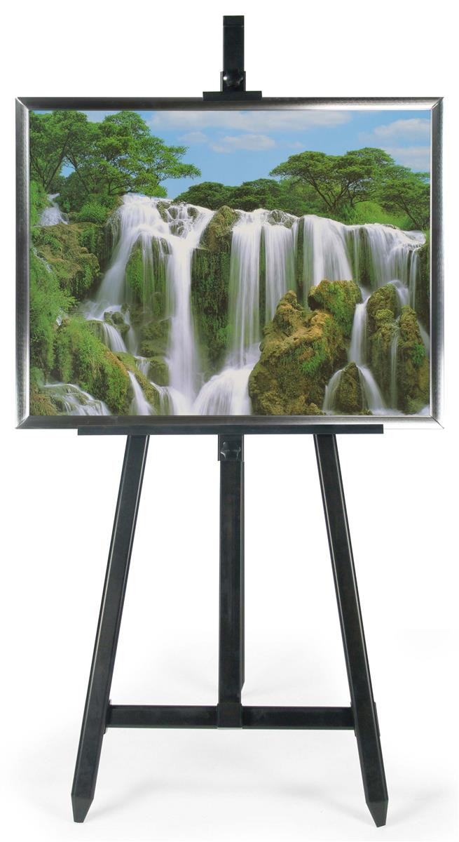 22 x 28 silver poster frame with black floor easel