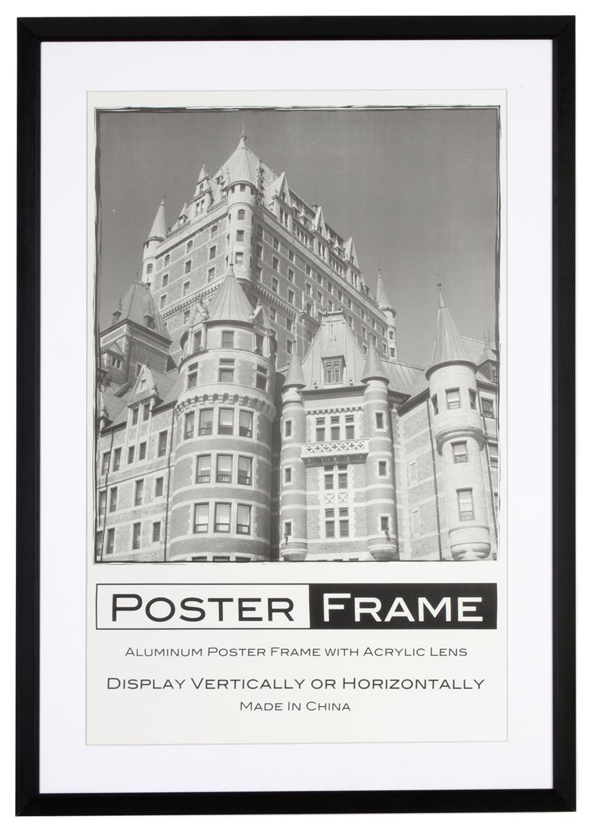 24 x 36 poster frame for wall rear load 2 mats black white 35mm profile black