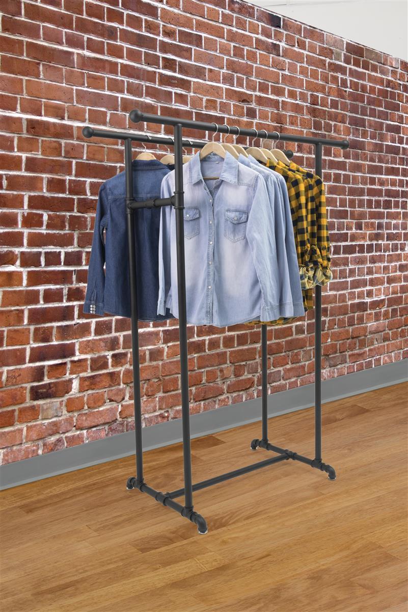 double rail pipe clothing rack powder