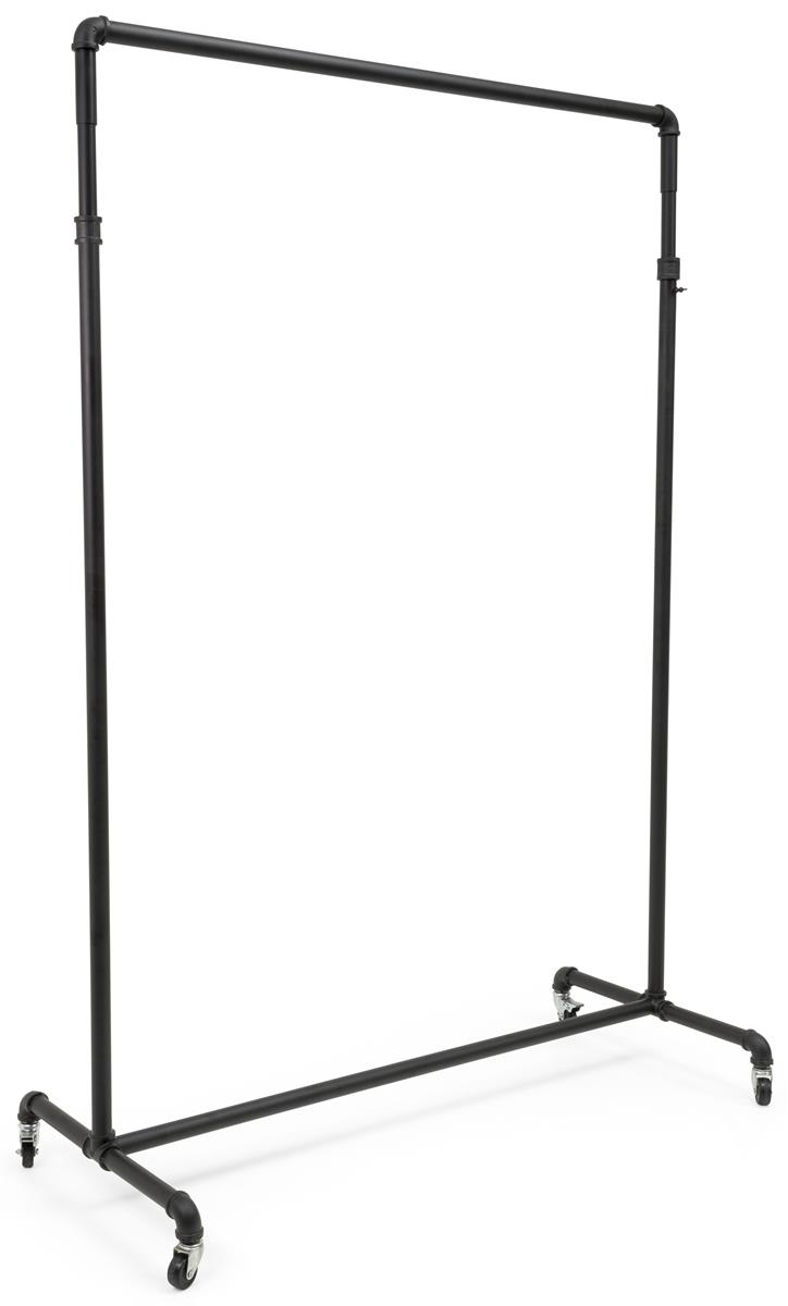 pipeline clothing rack with single tiered bars 4 wheels height adjustable black