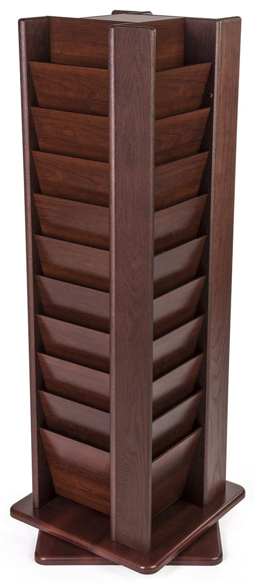 10 tiered magazine floor stands 8 5 w 40 pockets rotating mahogany