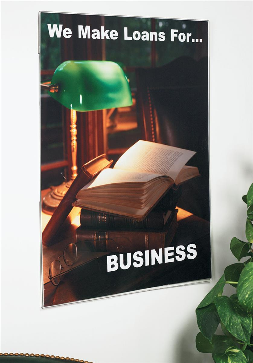 workshop series 24 x 36 acrylic wall poster frame side insert with bracket clear