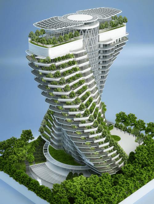 Renderizado del diseño de la torre donde pueden verse las placas fotovoltaicas dispuestas en la azotea.