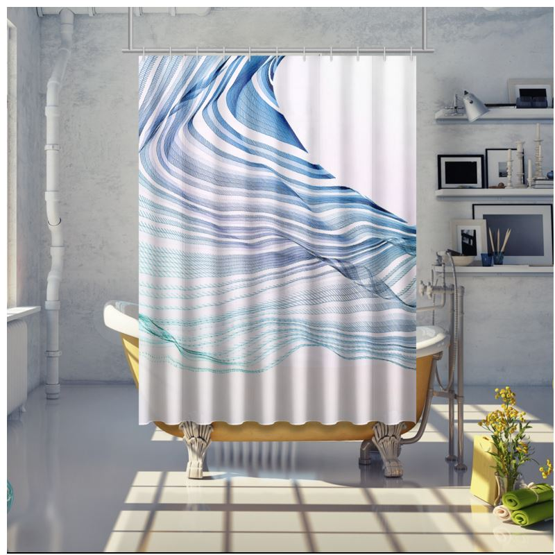 wave love blue and mint green on white shower curtain
