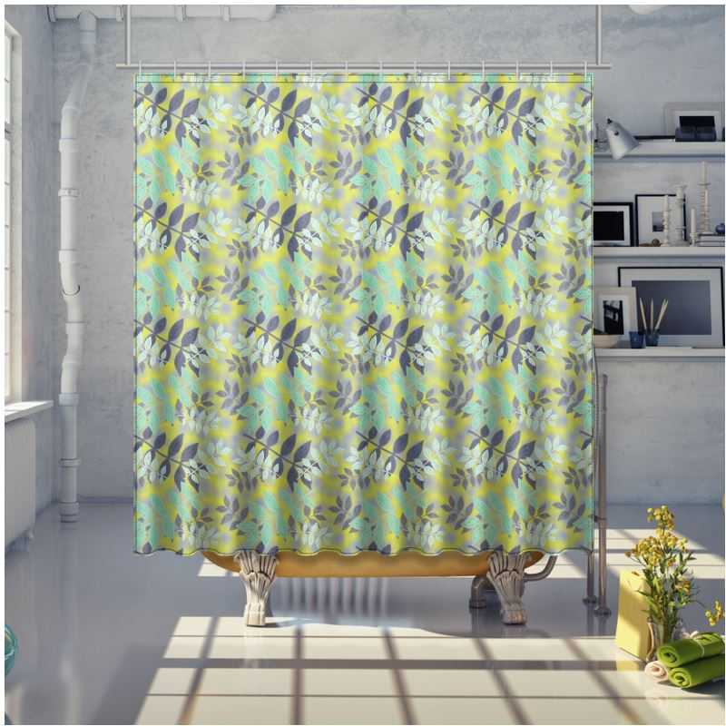 yellow green shower curtain etched leaves sunlight