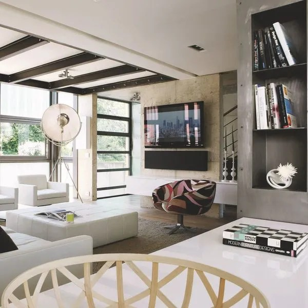 salon moderne avec grand ecran tv