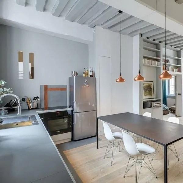 agrandir cuisine ouverte sur le sejour de cet appartement parisien