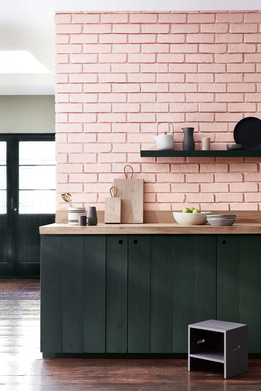 Resultado de imagem para papel de parede tijolinho rosa