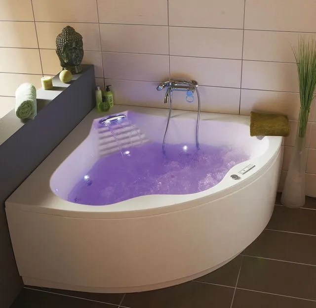 baignoire balneo mixte cascade en acrylique blanc dimensions 140 x 140 cm avec