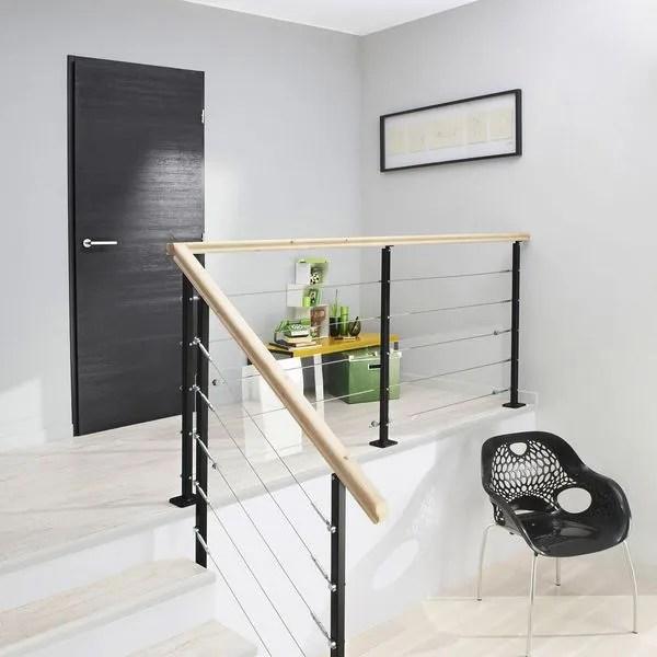Rampe D Escalier Et Escalier Bois Alu Quart Tournant Cote Maison