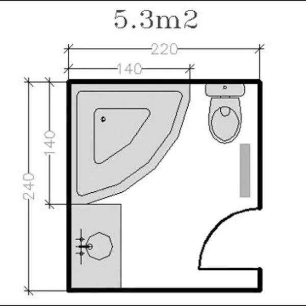 agrandir plan d une salle de bains de 5 3 m2 avec baignoire d