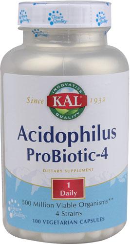 Kal 애시도필러스 프로바이오틱-4 유산균 베지테리안 캡슐, 100개입, 1개