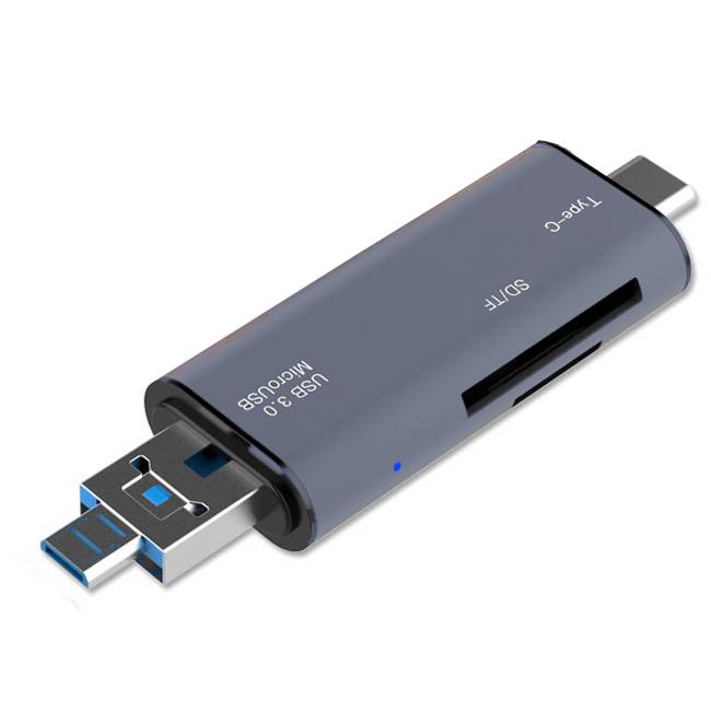 크레앙 5in1 USB 타입 C OTG 카드 리더기 CREOTG5IN1, CREOTG5IN1-SG, 스페이스 그레이