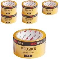 MRO 투명박스테이프 48mm x 50m x 59mic, 투명, 6개입 (TOP 25211415)