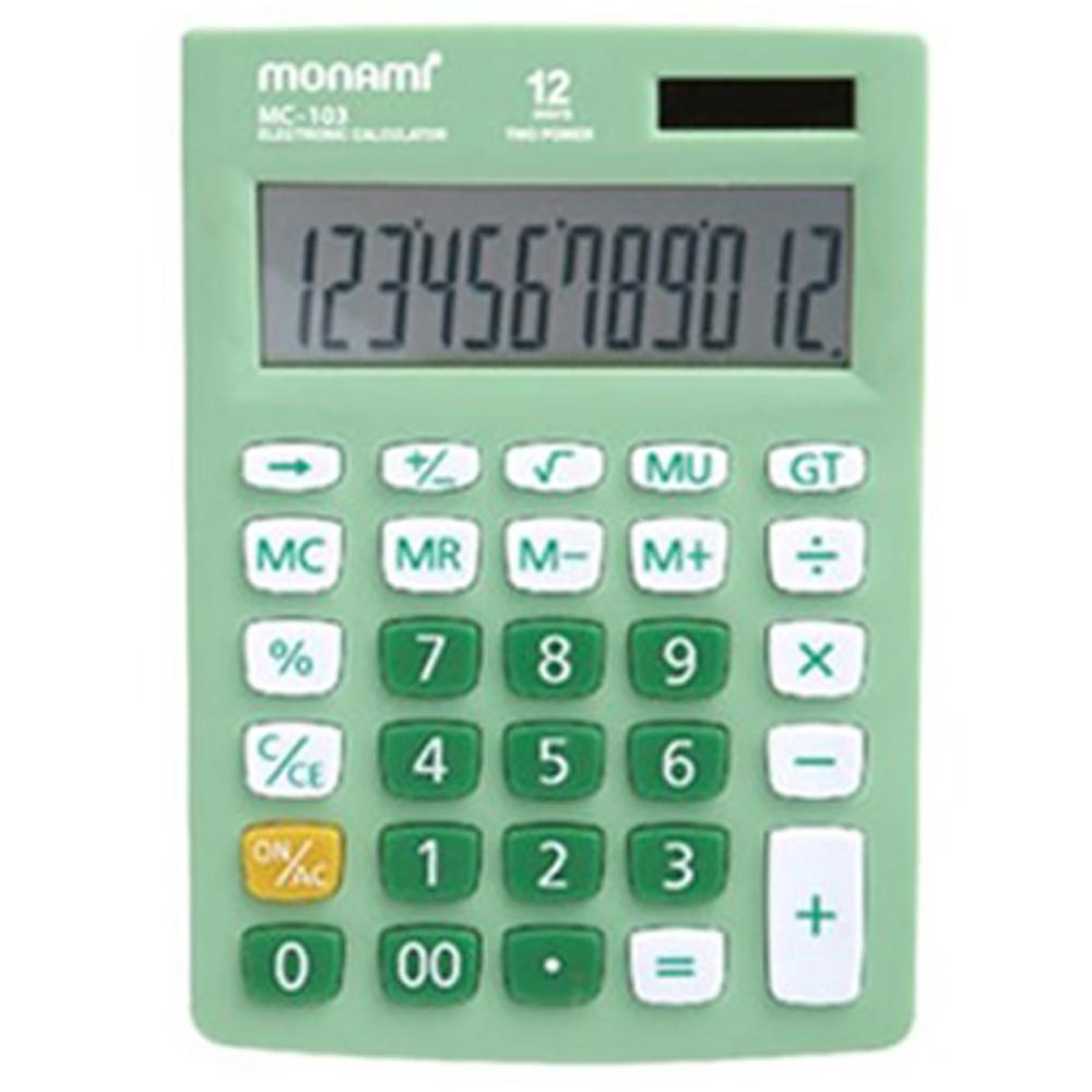 모나미 계산기 MC-103, 그린, 110 x 135 x 10 mm