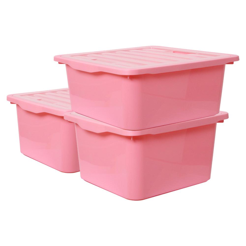보노하우스 레브스토리지 수납박스 L, 핑크, 3개입