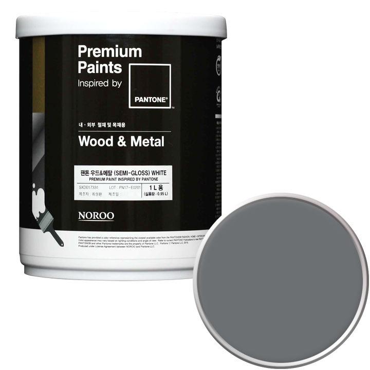 노루페인트 팬톤 우드앤메탈 페인트 반광 1L, 18-4005 Steel Gray