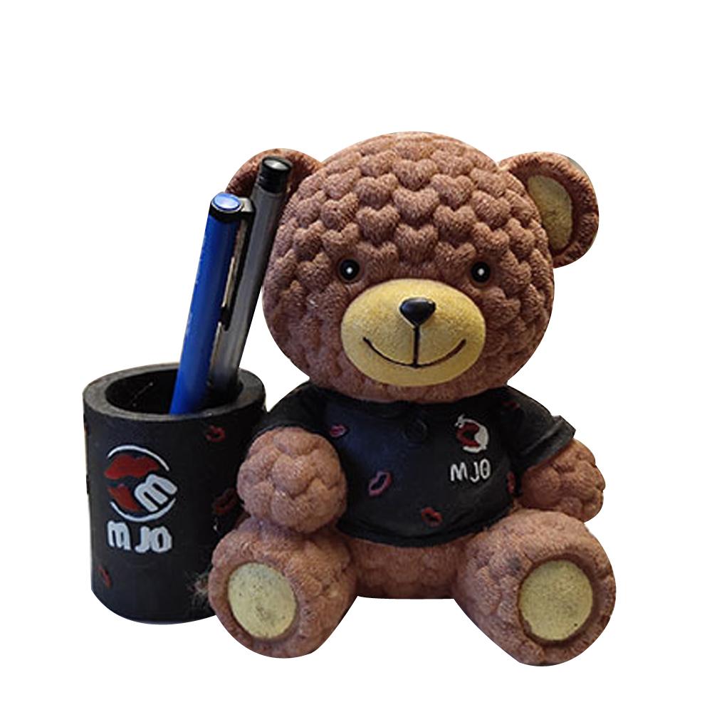 미니띠네 털복숭이 곰 펜 꽂이, 브라운, 1개