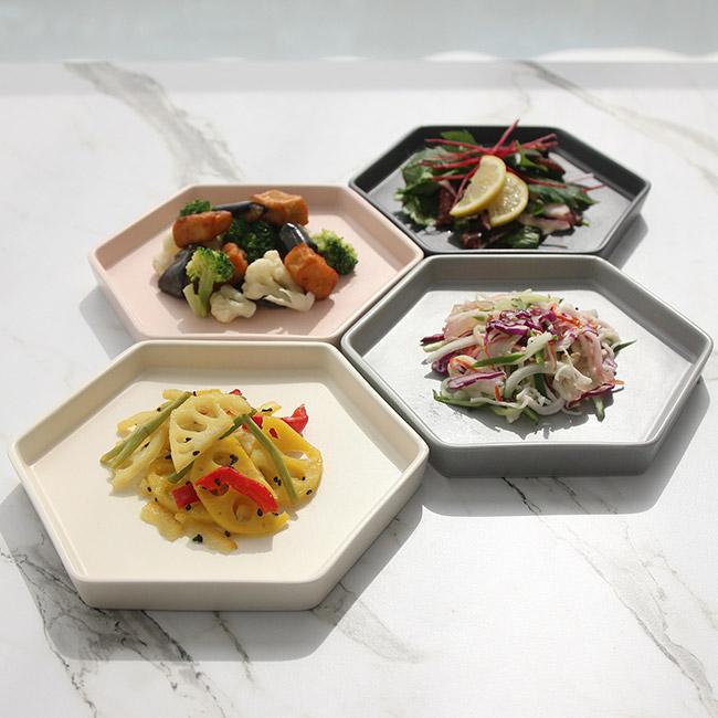 쓰임 마리벨 육각 접시세트 4p, 1세트, 접시 블루밍그레이 + 미스티차콜 + 크림화이트 + 코지핑크