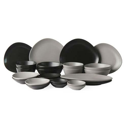 에라토 패블 4인 그릇세트 24p, 그레이&블랙, 볼 2종 4p + 접시 2종 4p + 찬기 3종 6p + 롱디쉬 2p