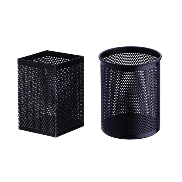 델리 메쉬망 사각 펜꽂이 E908 + 원형 펜꽂이 E909 세트, 블랙, 1세트