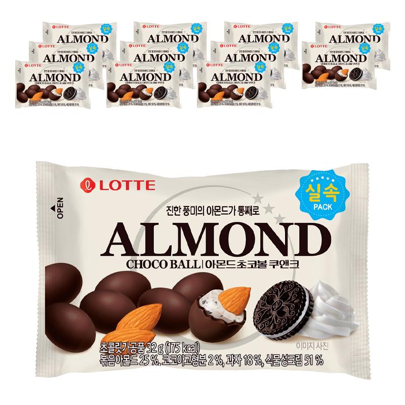 롯데제과 아몬드볼쿠앤크 초콜렛 파우치, 32g, 12개