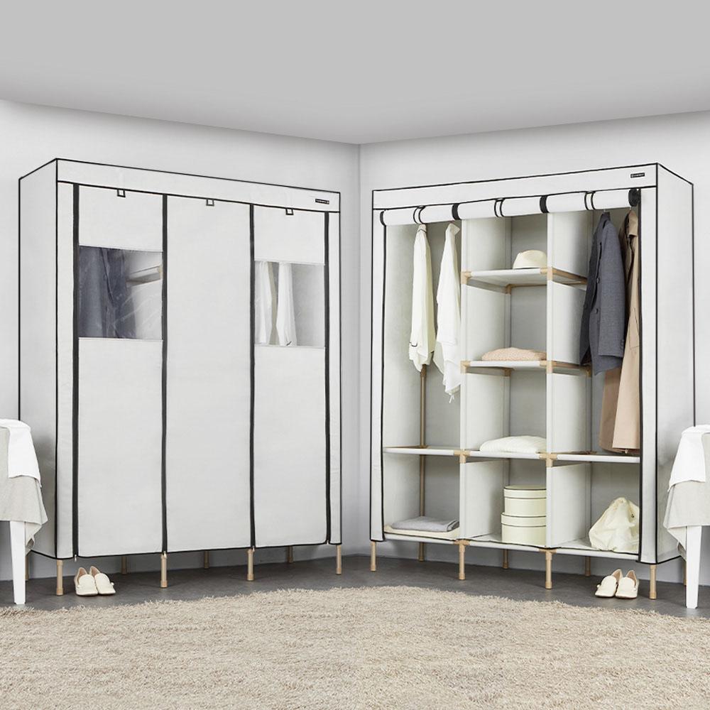 엠에프매직하우스 윈도우 커버옷장 190 트리플 + 고무망치, 라이트그레이
