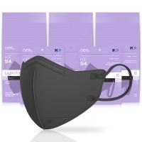 아에르 스탠다드 라이트핏 보건용 마스크 검정색 소형 KF94, 1개입, 50개 (TOP 5354242764)