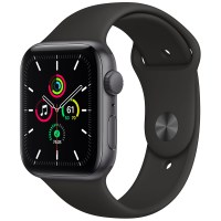 Apple 애플워치 SE, GPS, 스페이스 그레이 알루미늄 케이스, 블랙 스포츠 밴드 (POP 2128457892)