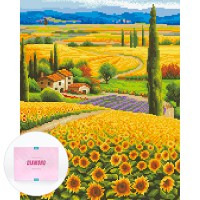 디클레어 액자 캔버스형 보석십자수 DIY 키트 40 x 50 cm, 1세트, 해바라기 마을 (TOP 1904487045)