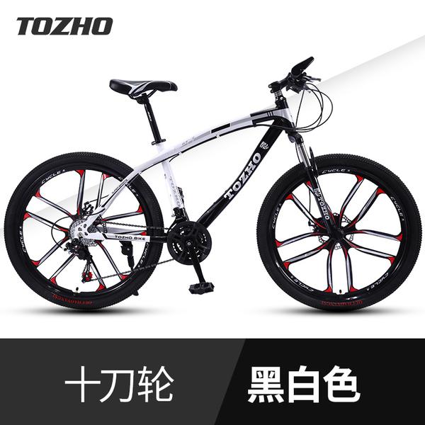 산악 로드 라이딩 듀얼 댐핑 디스크 브레이크 자전거, Ultimate Edition-Curved Beam 화이트 블랙 텐 나이프 원 휠_30 속도_24 인치