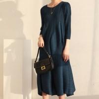새로운 정통 2020 가을 인스타 스타일 Issey Miyake 주름 V 넥 패션 유럽 거리 슬리밍 중간 길이 드레스 원피스 86 (TOP 5912262813)
