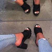 여성신발 슬리퍼 토앤토 쪼리 샌들 캐주얼 플립플롭 2021 새로운 스퀘어 힐 여름 펌프 편안한 신발 빅 사이즈 신발 (POP 5879241270)