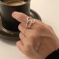 무배 실버925 로맨틱 매듭 라인 셀린 레이어드 꼬임 유화 볼드한 반지 우정반지 오픈링 (TOP 4892103540)