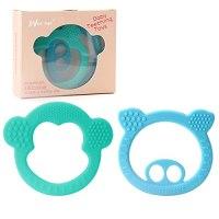 부드러운 실리콘 아기 젖니가있는 장난감 - BPA 무료 실리콘 Teether 쉽게 잡고 통증 완화 Teether 장난감 최고의 베이비 샤워 선물 2 팩, 본상품 (TOP 5474391777)