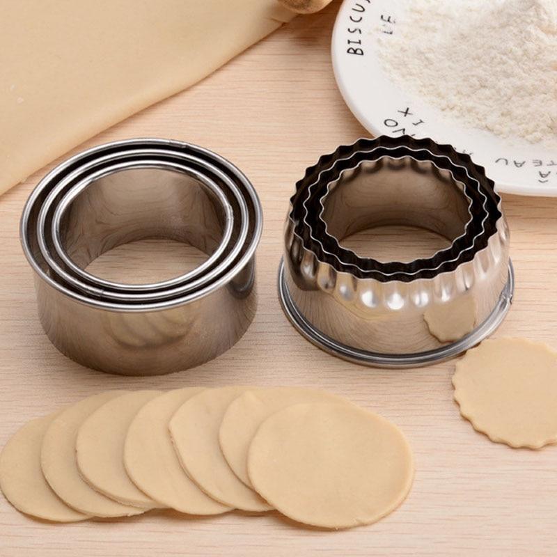3 pcs 쿠키 과자 메이커 휴대용 만두 커터 스테인레스 스틸 반죽 절단 도구 라운드/꽃 모양의 주방 가제트, 1개, round edge^0