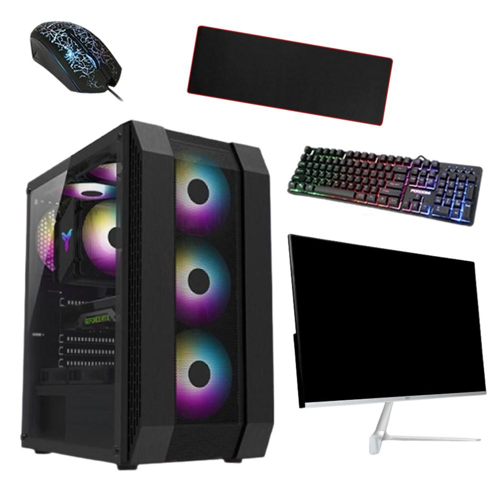 컴퓨터도매집 드라마협찬 조립식 컴퓨터 본체+LCD 모니터 세트 오버워치 피파 롤 배그 게임용 사무용 조립 pc, 기본형, B형(사무용)+모니터세트