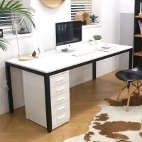 다가구 프래그마 1000 x 800 1인용 컴퓨터책상, 아이보리(상판):블랙(프레임) (TOP 2014599473)