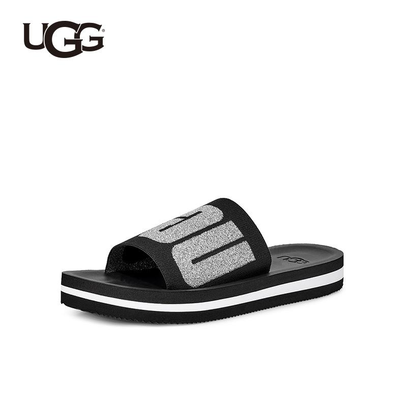 하이킹영 UGG 여름 여성 샌들 플랫 메탈릭 컬러 이니셜 타입 하이 스판 슈즈 면일자 슬리퍼