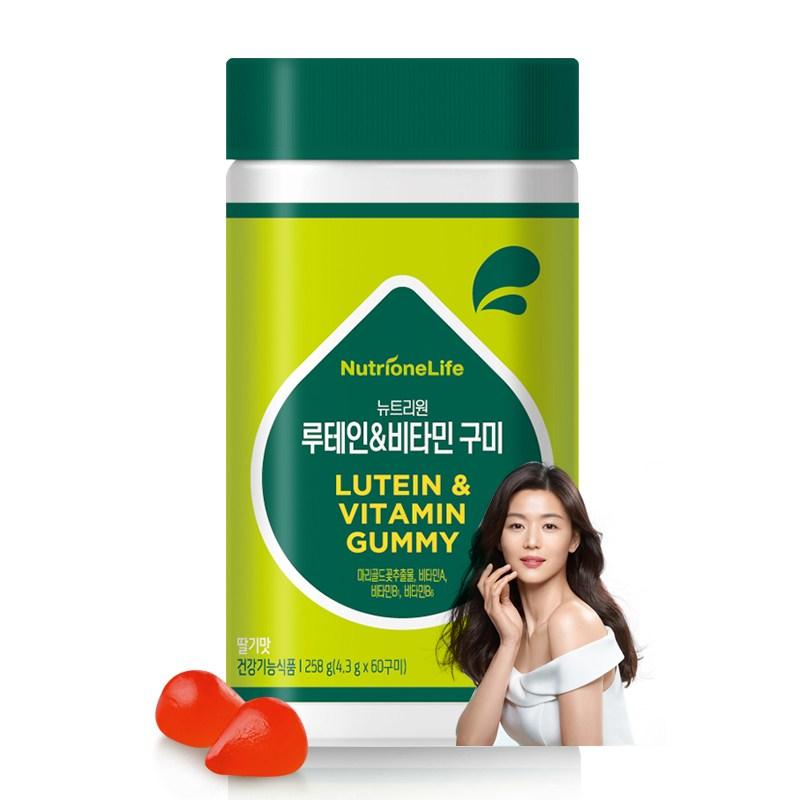 뉴트리원 맛있는 전지현 루테인 비타민 구미 60구미 (딸기맛) 비타민A 비타민B 눈건강 황반변성 + 활력환, 1병