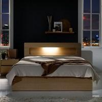 하포스 LED수납형 침대, 오크 프레임, 파워본넬 자가드 매트리스 (TOP 23165006)