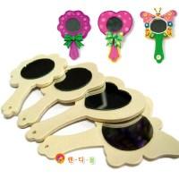 핸디몰 꾸미기용 거울모음(손잡이 모양 통나무 그리기 꽃거울 탁상), 나무손잡이거울(랜덤) (TOP 143121368)