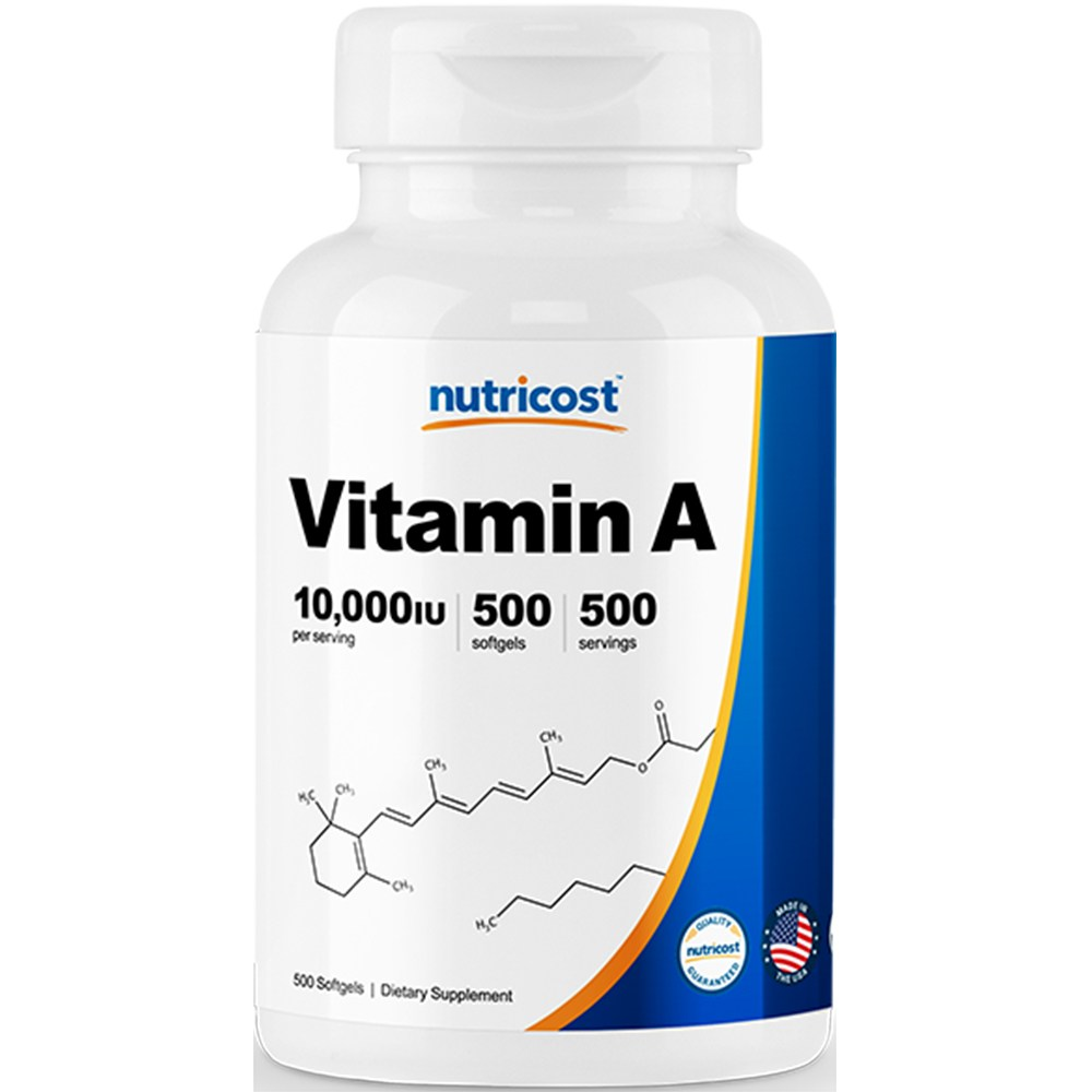 뉴트리코스트 비타민 A 10 000IU 캡슐, 500캡슐