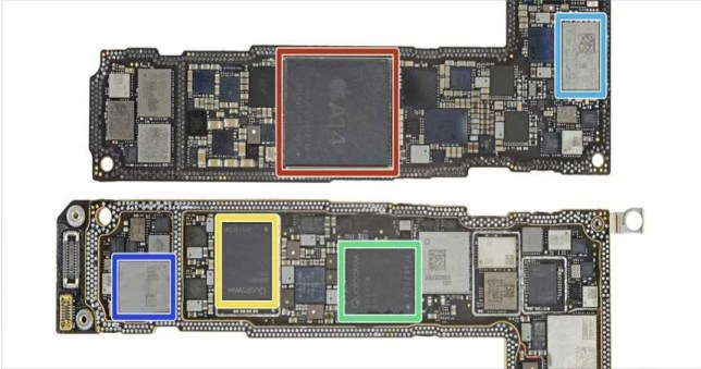 高通所生產的X55晶片(綠框),價格是台積電代工的A14處理器(紅框)的兩倍之多。(圖/翻攝自iFixit)