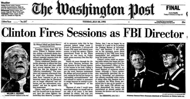 bill clinton licenzio il capo dell fbi sessions pochi mesi dopo il suo insediamento
